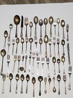 Antique Flatware Silverplate lot 55 Mixed  Silver Plate Serving Fork Spoon LOOK