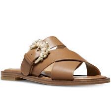 NIB Size 6 MICHAEL KORS Frieda Leather Acorn Tan Rhinestone Slide Sandal $130 FM