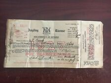 1927 Ontario Canada Fishing License Non Resident Angling
