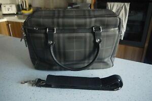 Burberry Grey & Black Check Hambleton Work Laptop Bag Briefcase Shoulder Strap