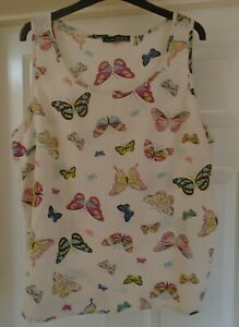 Ladies - Atmosphere - Smart Summer Sleeveless Butterfly Design Top - Size 20
