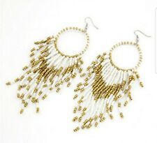 Bohemian Native Style Beaded White and Gold Earrings