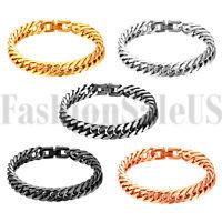 Men's Gold Silver Tone Bracelet Stainless Steel High Polished Link Bangle 10mm