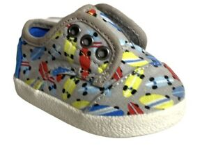Toddler TOMS Paseo skateboard Drizzle Grey Sneaker slip On SZ 3 3T Worm Once PI