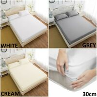 100% EGYPTIAN COTTON FITTED SHEET 400TC SINGLE 4FT SMALL DOUBLE KING SUPER KING