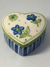 Heart Shaped Trinket Box Ceramic Blue/green Colorer. Jewelry, Change, Misc.