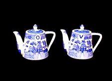 Blue Willow Oil Vinegar Set Teapots Porcelain China Tea Pots Kettle Oriental New