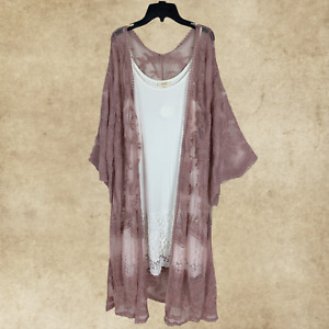 PLUS BOHO MAUVE LACE EMBROIDERED 3/4 SLEEVES KIMONO CARDIGAN DUSTER ONE SIZE
