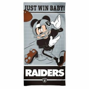 """LAS VEGAS RAIDERS JUST WIN BABY! MICKEY MOUSE 30""""X60"""" SPECTRA BEACH TOWEL NEW"""