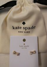 Kate Spade NY Gold Tone Pave Crystals Bow Stud Earrings Jewelry