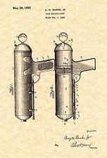 Patent Print - Pistol Style Fire Extinguisher 1925. Ready To Be Framed!