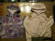 2 Hollister Women's Soft Cold Shoulder Hoodie Sweater Thumb Hole Gray Size XS
