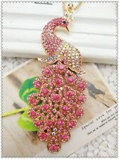 Betsey Johnso Crystal Colorful Peacock Pendant charm Sweater chain necklace QQ