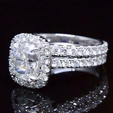 2.20ctw Natural Cushion Halo Pave Diamond Engagement Bridal Set - GIA Certified