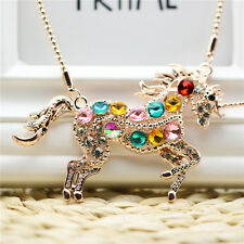 Girl Women's Colorful Crystal Steed Horse Unicorn Pendant Necklace Sweater Chain