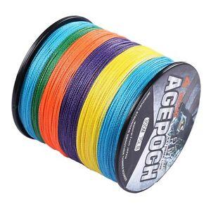 100M-2000M 10LB-300LB Multi-Color 100% PE Dyneema Agepoch Braided Fishing Line