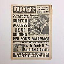 Midnight Magazine Tabloid Newspaper 1971 Elizabeth Taylor Richard Burton Cancer