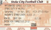 Ticket - Stoke City v Walsall 14.04.01