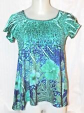 Women's Jane Ashley Casual Lifestyle Size Medium Blouse Stretchy Floral