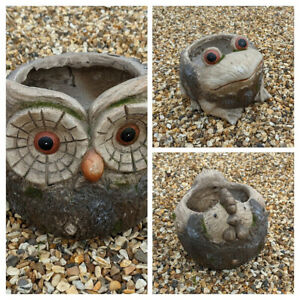Plant Pot Owl, Chicken & Frog Design