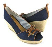 BASS Espadrille Denim Peep-toe Wedges Shoes 10M Annie Womens Heels