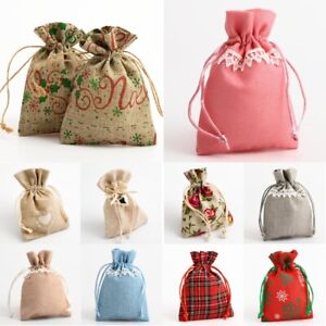 10 Hessian Drawstring Gift Bags Fabric Linen Christmas Pouch Wedding Favours