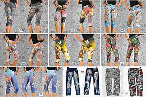 Capri Leggings Sexy Tattoo Print Jeggings Tregings Gr. 34-38