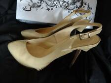 (LS) Sz 5 Eu38 *BEATRIX ONG* Beige/tan patent leather stiletto shoes heels