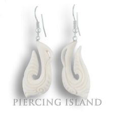 Weiße Maori Style Ohrringe Handarbeit Bone 925er Silber ER166