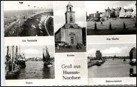 HUSUM 5-fach Mehrbild-AK ua. Hafen Kirche Deich ~50/60