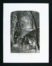 1874 Antique Print The Lovers Leap Approach by Night French Broad North Carolina