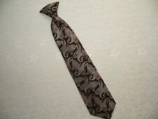 Vintage Mens Clip-on Neck Tie Wembley Necktie Clip On Tie Brown Blue Paisley