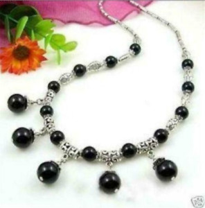 """Lovely 6-10mm Natural Black Agate Round Beads Pendant Tibet Silver Necklace 18"""""""