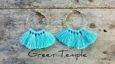 Boho Hoop Fringe Tassle Tassel Earrings New! Silver & Aqua Blue Light Tribal