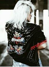 Zara Black Leather Look Bomber Punk Love Embroidered Jacket Size S Uk 8
