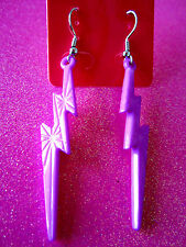 Purple Lightening Bolt Dangle Earrings 2 1/4 Inches Long