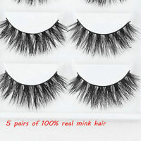 5Pairs Natural 100% Mink Thick False Fake Eyelashes Eye Lashes Makeup Extension