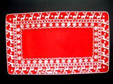 *GISELA GRAHAM*Weihnachten*Keramik*Kuchenplatte*Red&white*Deer&Snowflake