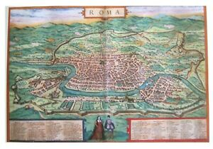 ROMA (ROME) 1570 A.D  MAGNIFICENT OVERSIZE HARDBACK MAP-PLAN BY DUTCH ENGRAVER