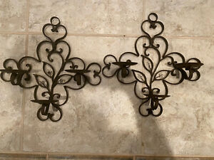 Pair Iron Sconce WALL mount pillar scrollwork candle holder Vintage Candleholder