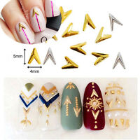 2Pcs Gold Alloy Sharp Triangle Charms Studs 3D Nail Art Manicure Decoration DIY