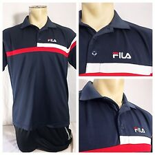 Vintage FILA Polo Shirt Mens Medium M Sports 90s Red White Blue VTG F 100