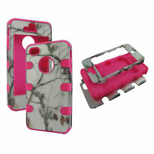 Hybrid Shock Proof Pink Strip Snow Camo  Case Apple Iphone 4 4S  Cover
