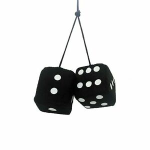 Auto Care Pair Of Fluffy Fuzzy Soft Dice Car Mirror Hanging - Black & White