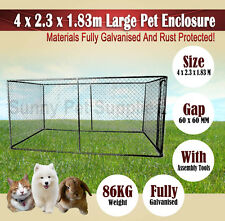 4 x 2.3 x 1.83m Large Pet Dog Enclosure Run Kennel Chain Link Fence Rust Proof B
