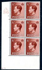 1936 1½d Red Brown A36 Cylinder 2 dot Block of 6 Unmounted Mint V75226