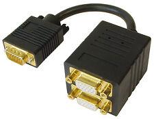 2 fach VGA - Y Kabel | Sub D (15pol.) | Signalverteiler | 2x geschirmt | 200mm