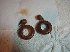 Vtg. Tested Bakelite Brown Chunky Retro Hoop Earrings Gold Filled Post Clip Nice