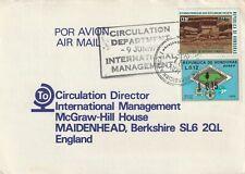 1975 Honduras card sent to McGraw Hill Maidenhead, Berkshire
