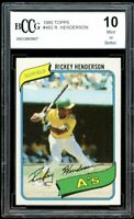 1980 Topps #482 Rickey Henderson Rookie Card BGS BCCG 10 Mint+